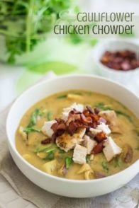 This Cauliflower Chicken Chowder is a thick and velvety cauliflower soup filled with chunks of soft potatoes, huge pieces of chicken, peppery arugula and crispy bacon.