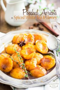 Served over vanilla ice cream, or even on their own, these Poached Apricots with Spiced White Tea and Honey Glaze are the perfect refreshing summer dessert.