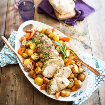 Maple Garlic Pork Roast with Carrots and Potatoes | thehealthyfoodie.com