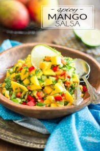 This Spicy Mango and Bell Pepper Salsa is super refreshing; it's spicy, it's sweet, it's crunchy and creamy and tangy… it goes good with just about anything!