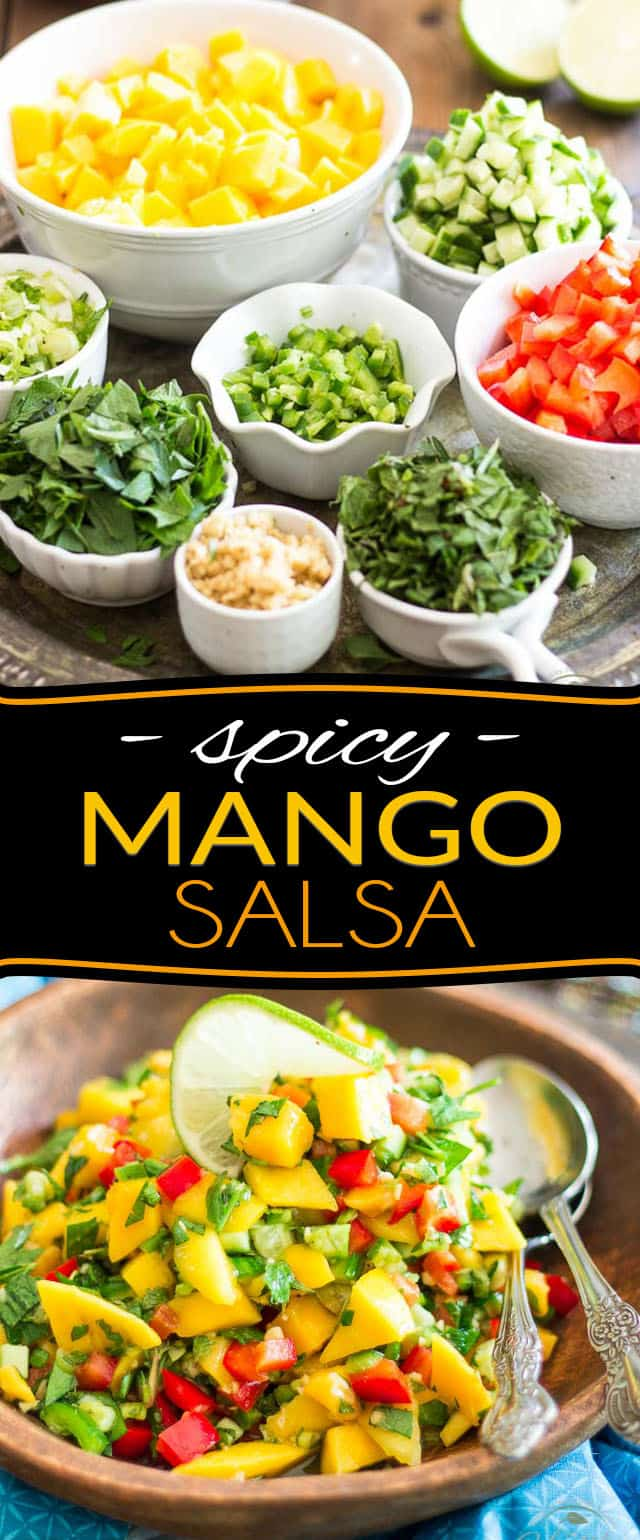 This Spicy Mango Salsa is super refreshing; it's spicy, it's sweet, it's crunchy but soft and tangy and goes good with just about anything... it's also loaded with so much flavor and so much good stuff, you'll want to eat it on its own as a salad! A true favorite and a total must during the hot and sunny months of summer!
