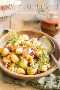 Warm Potato Salad with Creamy Goat Cheese and Crispy Bacon. So easy so make, so deliciously tasty, and so good for you, too! Try it, you'll love it!