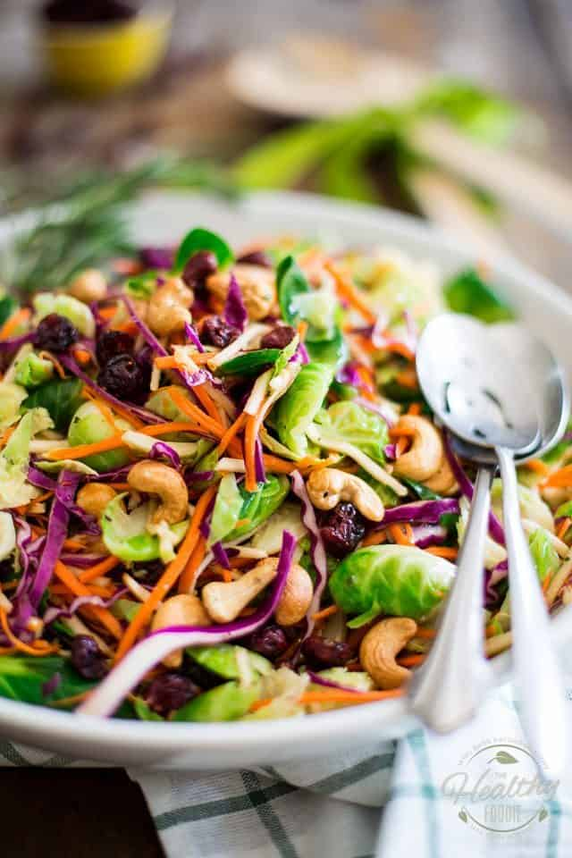 Colorful Brussels Sprouts Salad | thehealthyfoodie.com