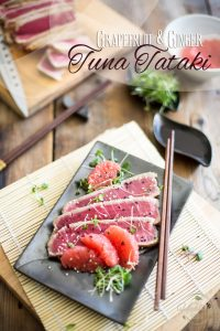 Quickly seared tuna in a sweet and tangy pink grapefruit and ginger marinade, this Grapefruit and Ginger Tuna Tataki is simple, fresh and delicious!