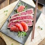 Grapefruit Ginger Tuna Tataki | thehealthyfoodie.com