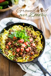 This simple and super tasty Ground Beef over Zoodles dish is a quick, easy and much healthier alternative to pasta.