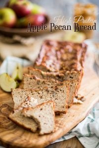 Grain Free and Refined Sugar Free, this High Protein Apple Pecan Bread makes for a great, healthy snack, especially when smothered in Almond Butter!