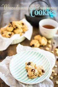 High in Protein, Free of Gluten and Refined Sugar, these Macadamia Cranberry Cookies not only are delicious but they make for a healthy, guilt free snack!