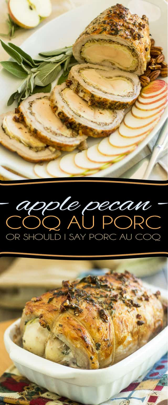 A delicious pork loin stuffed with a whole chicken breast, sliced apples, pecans and fresh herbs, this Apple Pecan