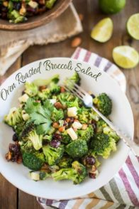 With loads of toasted almonds, dried cranberries and a tangy lemony dressing, this Oven Roasted Broccoli Salad is like pure candy in the form of broccoli.