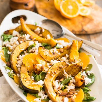 Roasted Acorn Squash, Orange and Spinach Salad
