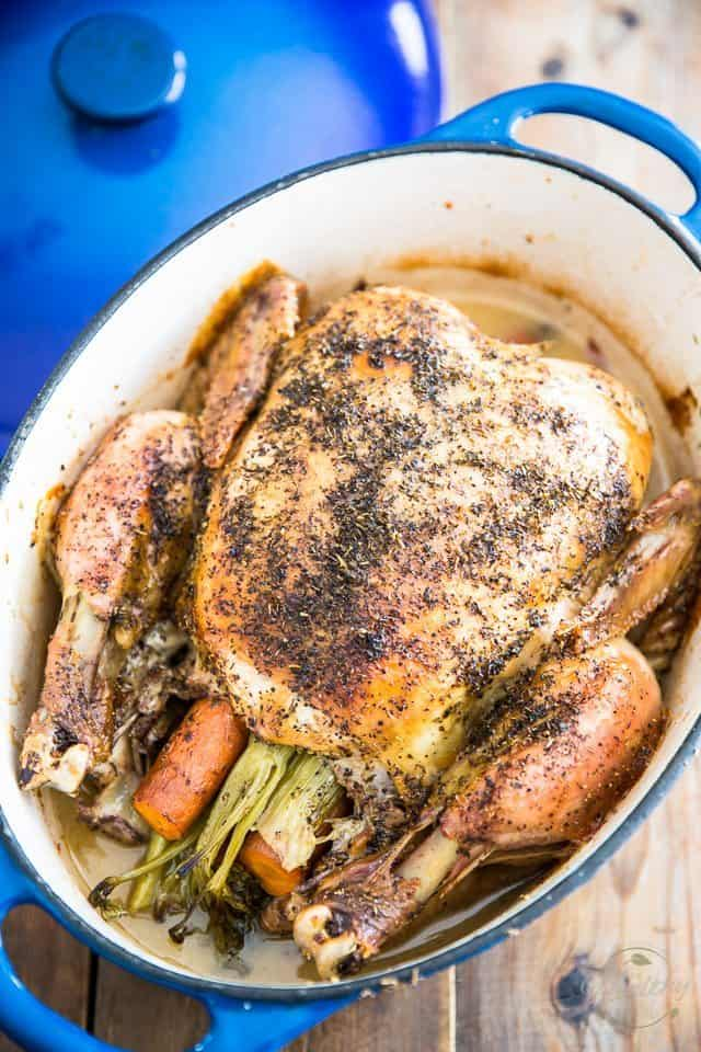 Dutch Oven Roasted Chicken | thehealthyfoodie.com