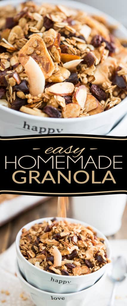 Simple and easy to make, Homemade Granola tastes a million times better than the store-bought stuff and is so much better for you, too! Treat your body well, treat your body good: make a batch today, I swear you'll never look back!