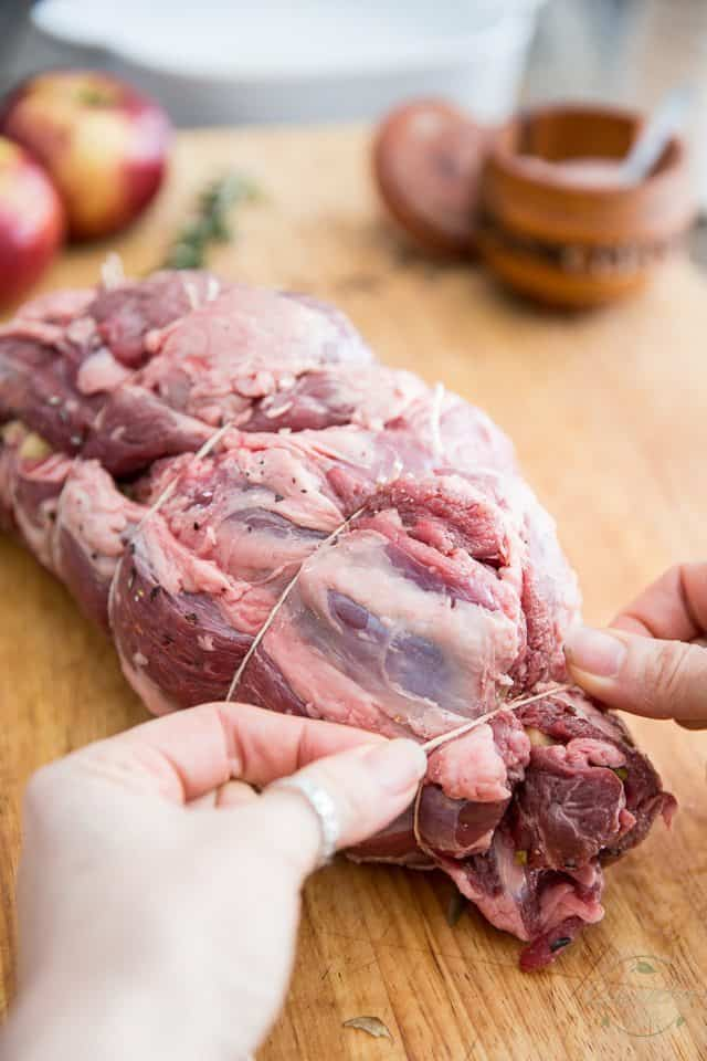 Apple Date Pisachio Stuffed Lamb Roast | thehealthyfoodie.com