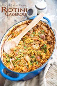 Braised Pork Tomato Rotini Casserole | thehealthyfoodie.com