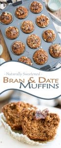 Naturally sweetened bran and date muffins that not only taste good, but is also good for you. It's dense, substantial in texture, hearty and nourishing!