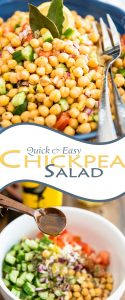 Chickpea Salad doesn't get much easier than this: just toss a few cups of cooked chickpeas with fresh cucumber, tomatoes, onions and a few herbs and spices