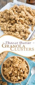 This Peanut Butter Granola is an avalanche of roasted peanuts and rolled oats all glued up together into big, crunchy clusters of sweet and salty goodness.