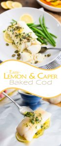 This Lemon Caper Baked Cod is as easy to make as it is delicious: fish gets cooked in its own individual foil packet, which makes it extra moist and tasty