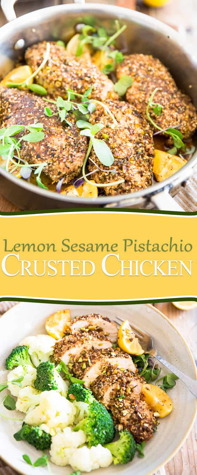 Lemon Sesame Pistachio Crusted Chicken | thehealthyfoodie.com