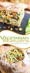 A vegetarian muffuletta is like a refreshing bell pepper, parsley, kalamata olives and Swiss cheese salad served inside a warm and crispy loaf of bread.