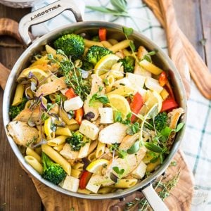 Warm Chicken Broccoli Penne Salad