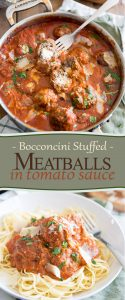 These Bocconcini Stuffed Meatballs in Tomato Sauce may look totally decadent, but they may very well surprise you with how healthy they actually are!