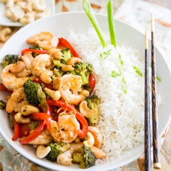 Sauteed Shrimp and Broccoli – with cashews and bell peppers