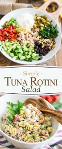 Perfect for your next picnic or to bring to work for lunch, this Tuna Rotini Salad turns boring canned tuna into a very palatable and nutritious experience!