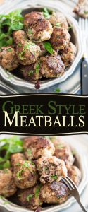 Loaded with tasty pieces of chopped kalamata olives and crumbled feta cheese, these Greek Style Meatballs are so seriously yummy, you won't be able to stop popping them!