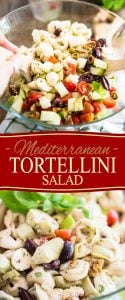 Mediterranean Tortellini Salad is quick and easy to prepare and can be enjoyed on it's own for a meatless