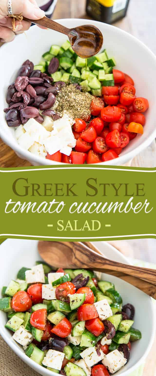 This instant Greek Style Tomato Cucumber Salad takes only minutes to put together and has flavor to last 'til tomorrow! Get it on your plate today!