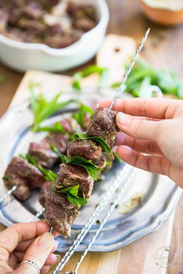 Lamb Kabobs with Tahini Sauce - Step-by-Step instructions on thehealthyfoodie.com