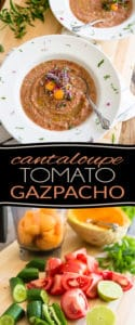 Filled with deliciously refreshing vegetables, this Cantaloupe Tomato Gazpacho makes for a perfect appetizer or light lunch when it's simply too hot to cook