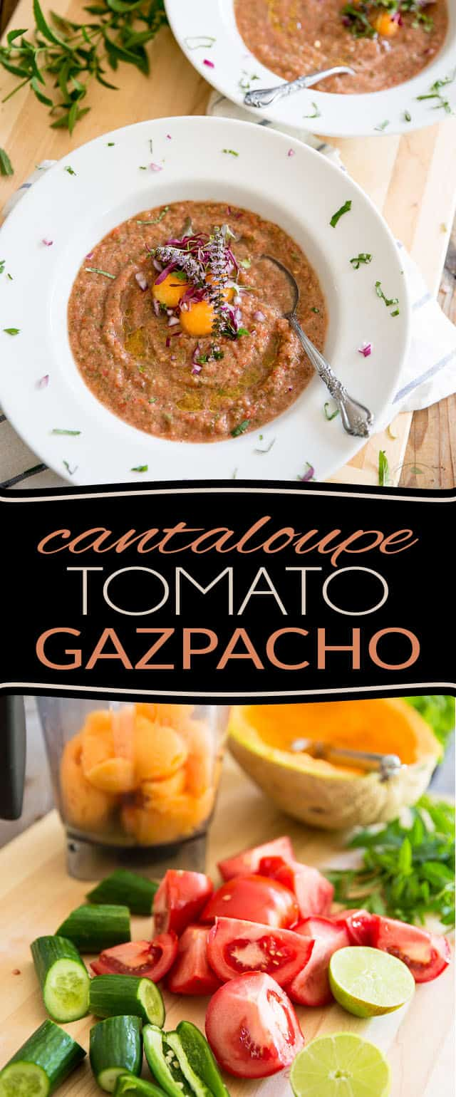 Filled with deliciously refreshing ingredients such as cantaloupe, tomatoes and cucumbers, this Cantaloupe Tomato Gazpacho makes for a perfect appetizer or light lunch when it's simply too hot to even think about cooking!