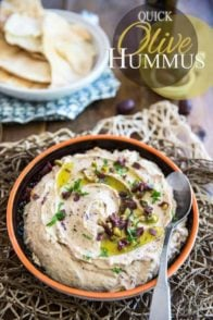 Quick to make and better than store-bought, this Olive Hummus will have you fall in love with the delicious chickpea spread all over again!
