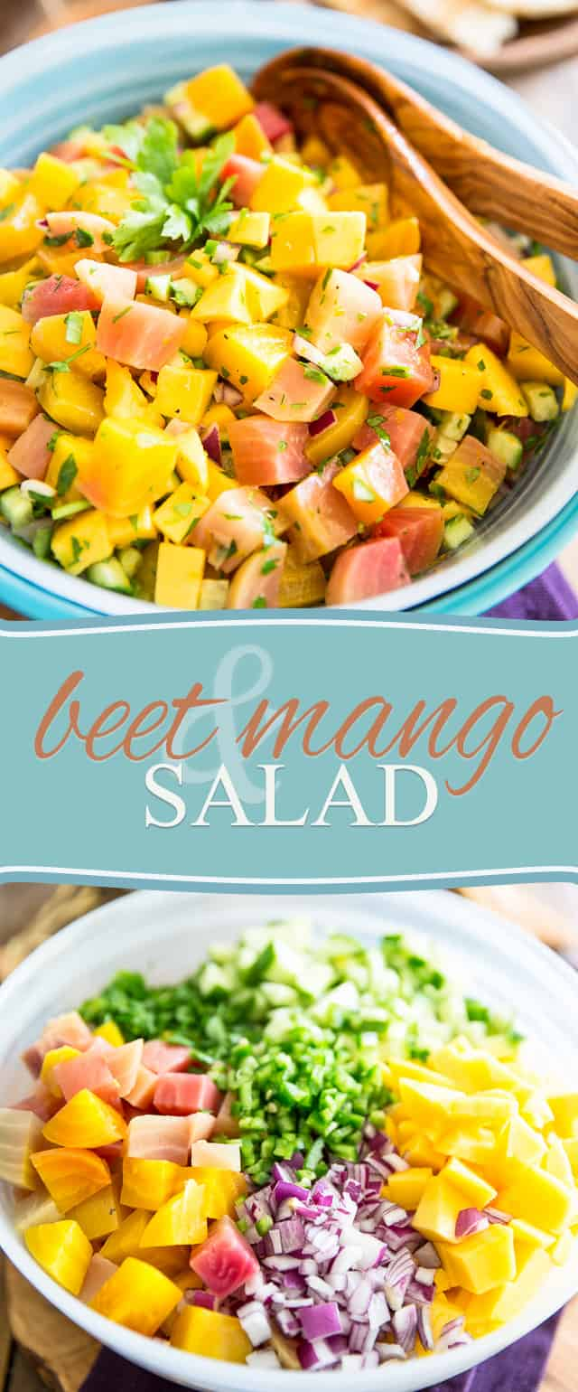Summer meets fall in this surprising but insanely delicious Beet Mango Salad. Dare give it a try: you won't believe how good the combination!