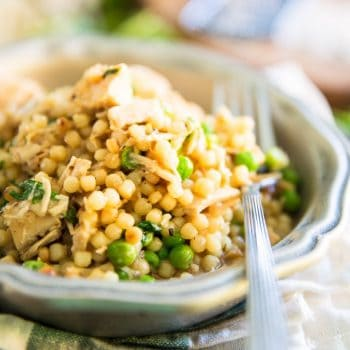 Israeli Pearl Couscous with Chicken and Peas by Sonia! The Healthy Foodie | Recipe on thehealthyfoodie.com