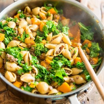 Kale Ground Beef Butternut Squash One Pot Pasta
