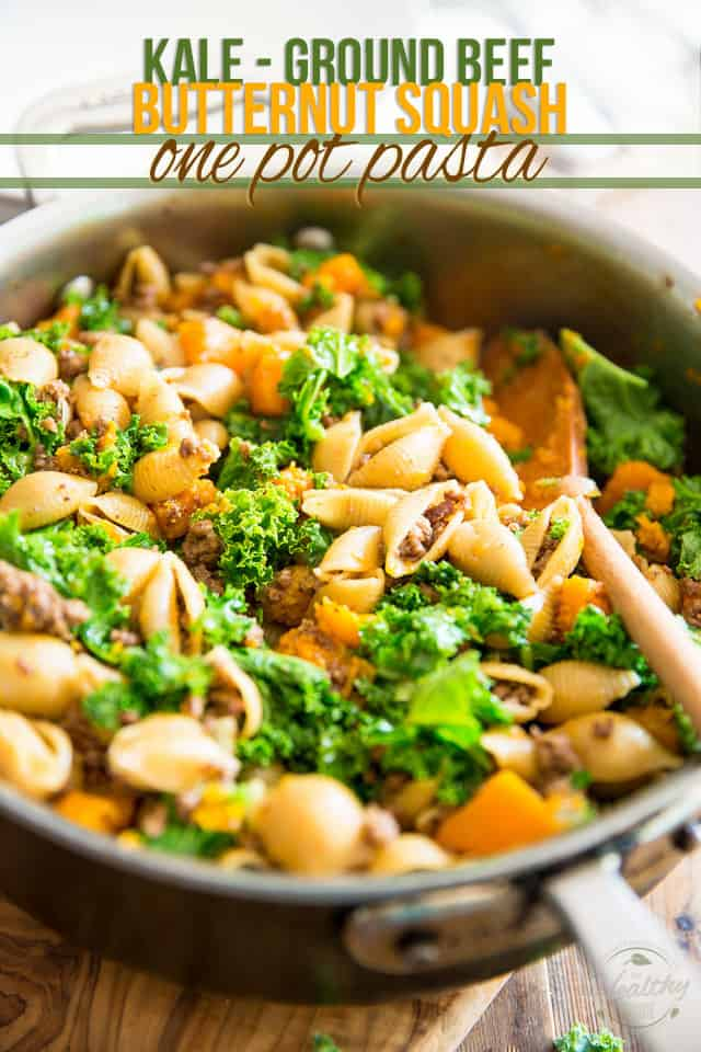 Kale Ground Beef Butternut Squash One Pot Pasta by Sonia! The Healthy Foodie | Recipe on thehealthyfoodie.com