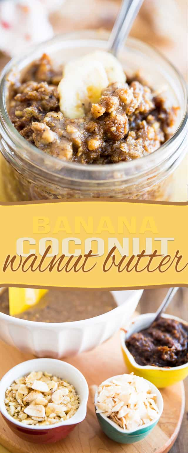 Spread this Banana Coconut Walnut Butter on a piece of buttered toast for a tasty snack, or just eat it by the spoonful... it's like Banana Bread in a jar!