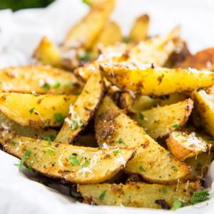 When the craving for French Fries strike, whip up a batch of these delicious Oven Baked Garlic Parmesan Potato Wedges instead. They're MUCH healthier AND much tastier, too!