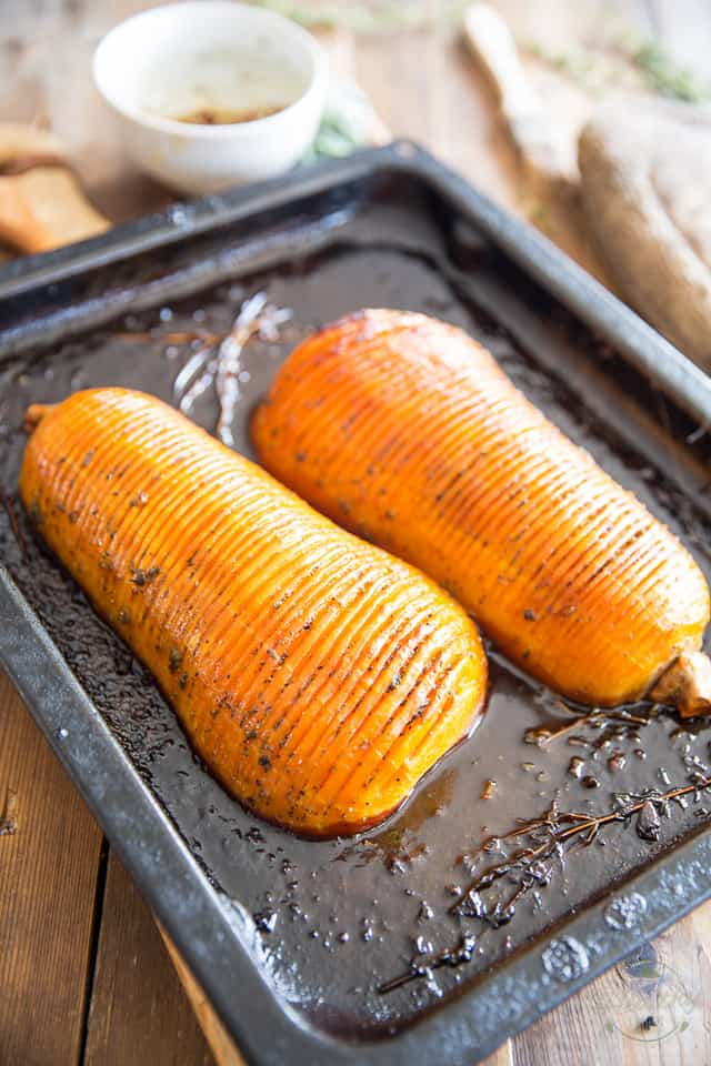Honey Glazed Hasselback Butternut Squash by Sonia! The Healthy Foodie | recipe on thehealthyfoodie.com