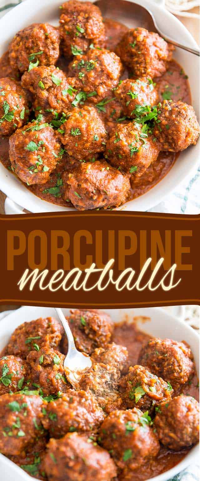 Porcupine Meatballs: we're talking huge meatballs filled with lots of rice, simmered in a rich tomato sauce. Home cooking doesn't get much better than this!