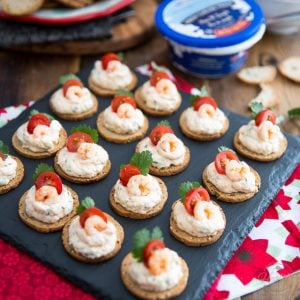 Goat Cheese Shrimp Dip Canapés by Sonia! The Healthy Foodie | recipe on thehealthyfoodie.com