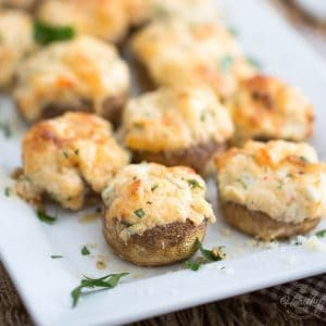 Cheese and Seafood Stuffed Mushrooms by Sonia! The Healthy Foodie | recipe on thehealthyfoodie.com