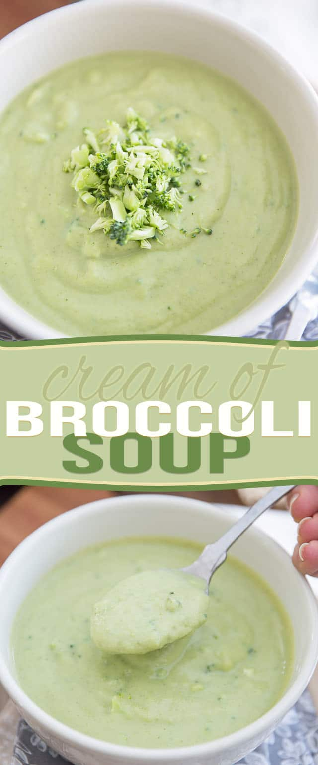 Cream of Broccoli Soup made squeaky clean and super healthy! Get the recipe on thehealthyfoodie.com