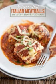"These Spicy Baked Italian Meatballs harbor so much flavor under their hood, be ready for a serious ""I can't believe these can be good for me"" moment!"
