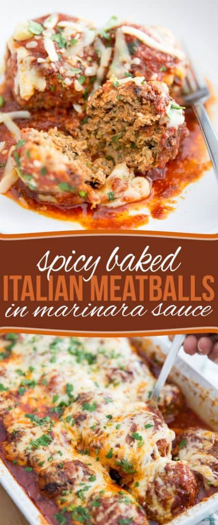"""These Spicy Baked Italian Meatballs harbor so much flavor under their hood, be ready for a serious """"I can't believe these can be good for me"""" moment!"""