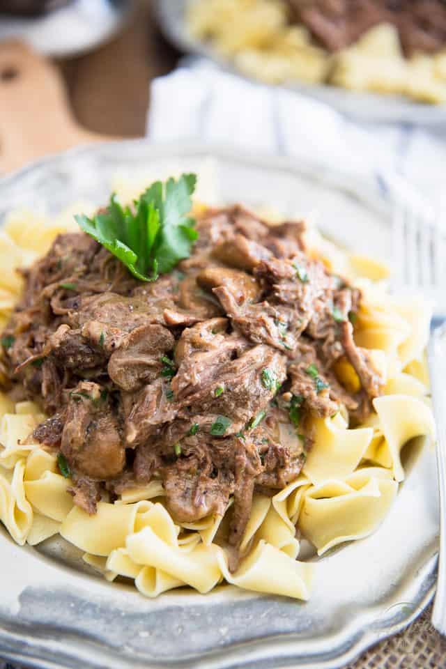 Slowly braised to fork tender perfection, this Shredded Beef Stroganoff is a delicious union between blade roast and the amazing classic Beef Stroganoff